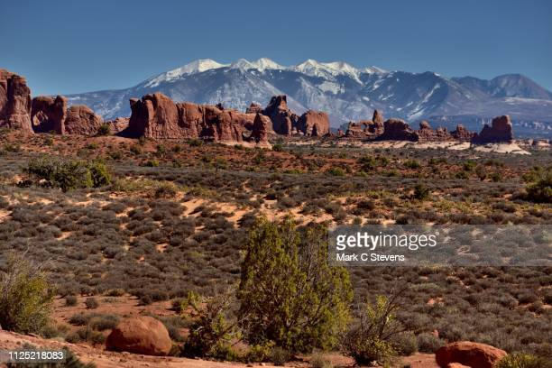 if you're going to have a backdrop, you might as well have mountains - double arch stock pictures, royalty-free photos & images