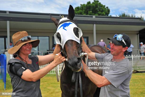Ifaconican with part owner Kate Goodrich and strapper and part owner Jon Hassall after winning the njt20cricketcomau Maiden Plate at Ararat...