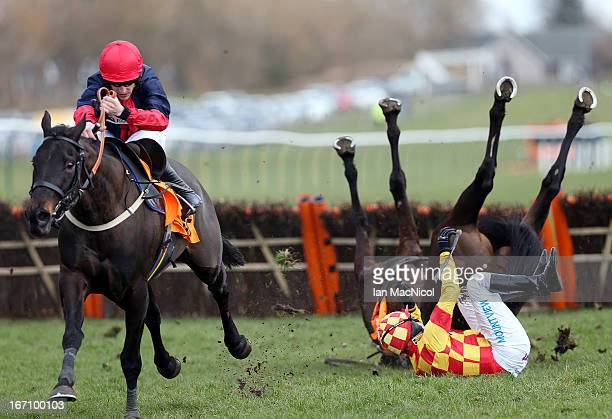 Ifandbutwhynot ridden by Timmy Murphy falls during the QTS Scottish Champion Hurdle Race at Ayr racecourse on April 20 2013 in Ayr Scotland