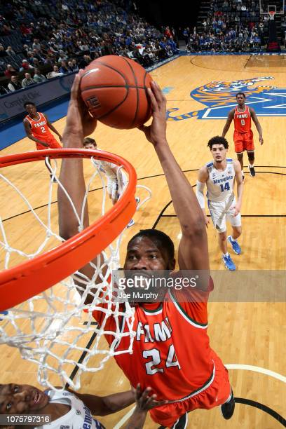 Ifeanyi Umezurike of the Florida AM Rattlers dunks the ball against the Memphis Tigers on December 29 2018 at FedExForum in Memphis Tennessee Memphis...