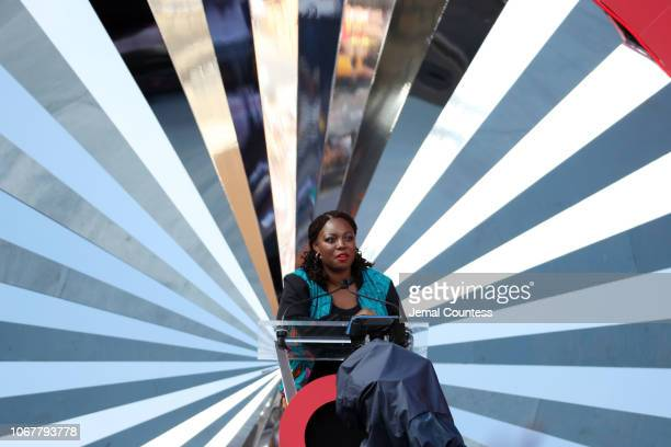 Ifeyinwa Afe speaks on stage during the Global Citizen Festival Mandela 100 at FNB Stadium on December 2 2018 in Johannesburg South Africa
