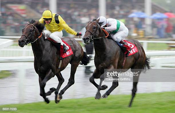 Iffraaf rides to victory in front of Sleeping Indian in The GNER Park Stakes during The Ladbrokes St Leger Festival on September 8 2005 at Doncaster...