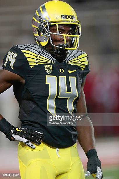 Ifo EkpreOlomu of the Oregon Ducks looks on prior to the game against the Washington State Cougars at Martin Stadium on September 20 2014 in Pullman...