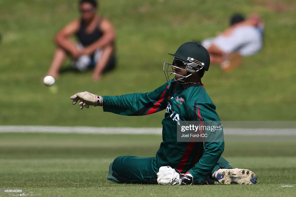 Ifran Karim of Kenya fields the ball during an ICC World Cup qualifying match against Uganda on January 19, 2014 in Mount Maunganui, New Zealand.