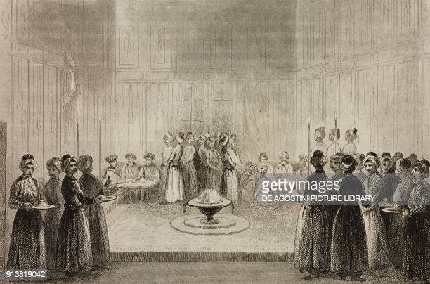 Iftar or dinner of Grand Vizier and ministers on the third night of Ramadan Turkey engraving by Lemaitre Lalaisse and Chaillot from Turquie by Joseph...