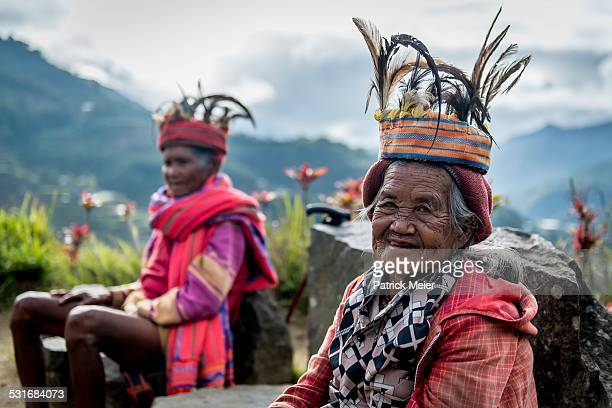 Ifugao tribe ladies in front of rice terraces in Banaue Ifugao region Luzon Philippines
