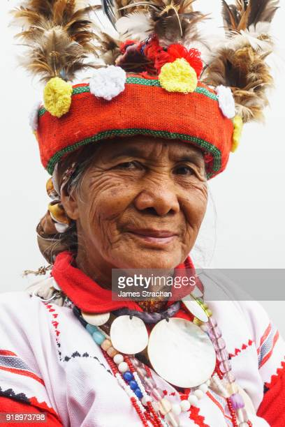 Ifugao (ancient culture of wet-rice agriculturalists) woman in traditional dress and hat, Banaue, Luzon Island, Philippines (Model Release)