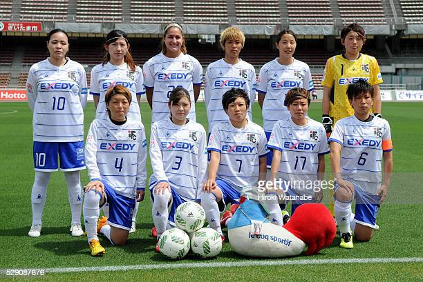 Iga FC Kunoichi players line up for the team photos prior to the Nadeshiko League match between Urawa Red Diamonds Ladies and Iga FC Kunoichi at the...