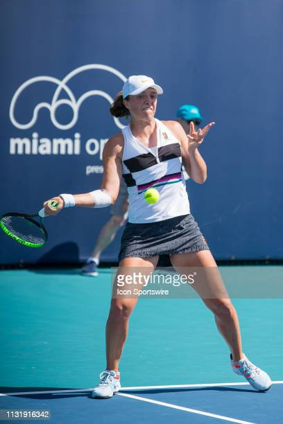 Iga Swiatek in action during the Miami Open on March 20 2019 at Hard Rock Stadium in Miami Gardens FL