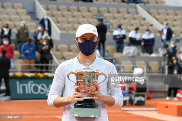 Iga Swiatek of Poland after the match at the award ceremony at Roland Garros on October 10, 2020 in Paris, France.