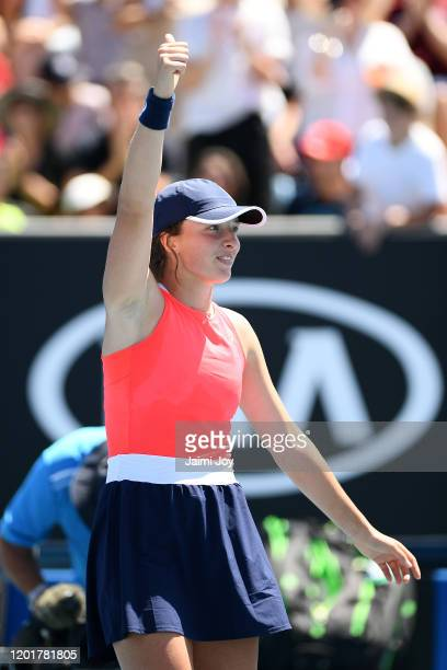 Iga Swiatek of Poland celebrates after winning her Women's Singles third round match against Donna Vekic of Croatia on day six of the 2020 Australian...