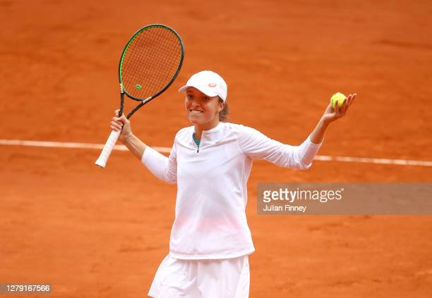 Iga Swiatek of Poland celebrates after winning match point during her Women's Singles semifinals match against Nadia Podoroska of Argentina on day...