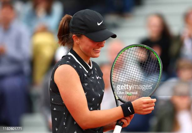 Iga Swiatek of Poland celebrates victory during her ladies singles second round match against Qiang Wang of China during Day five of the 2019 French...