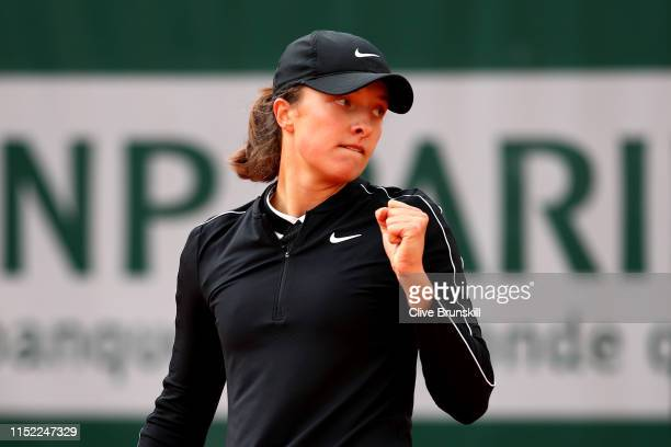 Iga Swiatek of Poland during her ladies singles first round match against Selena Janicijevic of France during Day three of the 2019 French Open at...