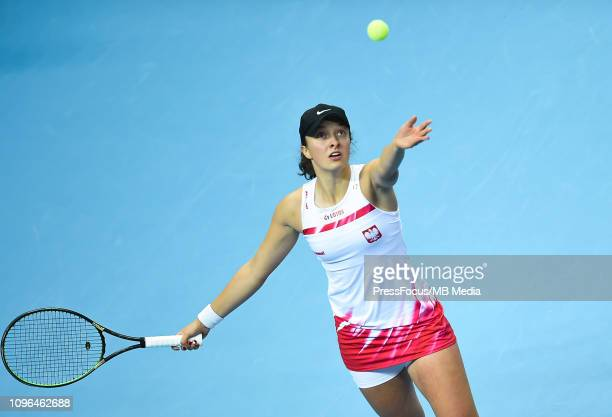 Iga Swiatek of Poland in action during her match against Dayana Yastremska of Ukraine during the Fed Cup Europe and Africa Zone Group I match between...