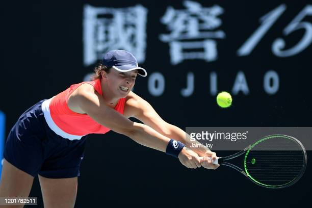 Iga Swiatek of Poland plays a backhand during her Women's Singles third round match against Donna Vekic of Croatia on day six of the 2020 Australian...
