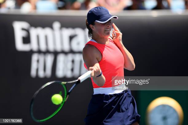 Iga Swiatek of Poland plays a forehand during her Women's Singles third round match against Donna Vekic of Croatia on day six of the 2020 Australian...