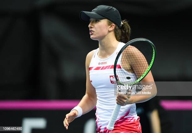 Iga Swiatek of Poland reacts during her match against Dayana Yastremska of Ukraine during the Fed Cup Europe and Africa Zone Group I match between...