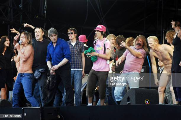 Iggy and the Stooges, Iggy Pop with a lot of fans on stage, Pinkpop Festival, Landgraaf, Netherlands, 27th May 2007.