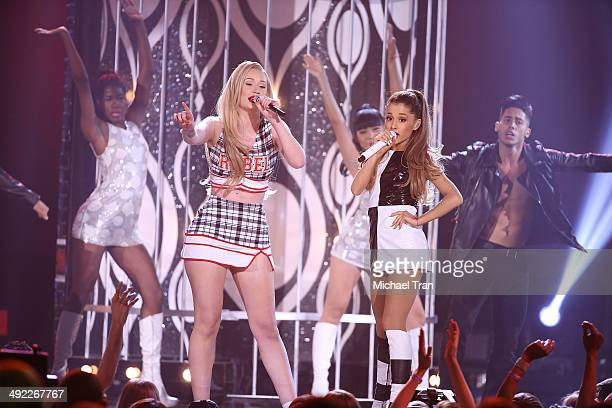 Iggy Azalea and Ariana Grande perform onstage during the 2014 Billboard Music Awards held at MGM Grand Garden Arena on May 18 2014 in Las Vegas Nevada