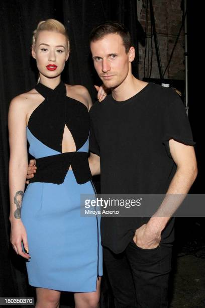 Iggy Azalea and Dion Lee backstage at the Dion Lee fashion show during MercedesBenz Fashion Week Spring 2014 at Eyebeam on September 11 2013 in New...