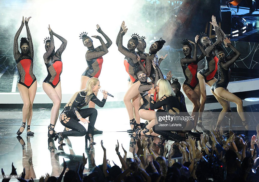 Iggy Azalea and Rita Ora perform onstage at the 2014 MTV Video Music Awards at The Forum on August 24, 2014 in Inglewood, California.