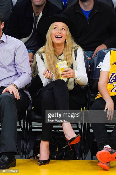 Iggy Azalea attends a basketball game between Portland Trail Blazers and Los Angeles Lakers at Staples Center on January 11, 2015 in Los Angeles,...
