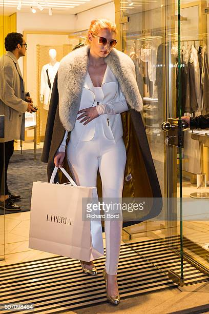 Iggy Azalea goes out from the La Perla store on January 27 2016 in Paris France