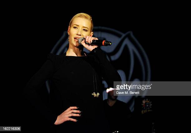 Iggy Azalea performs at the Universal Music Brits Party hosted by Bacardi at the Soho House popup on February 20 2013 in London England