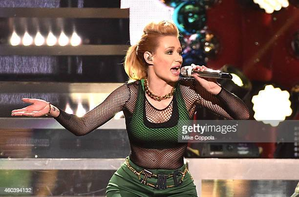 Iggy Azalea performs onstage during iHeartRadio Jingle Ball 2014 hosted by Z100 New York and presented by Goldfish Puffs at Madison Square Garden on...