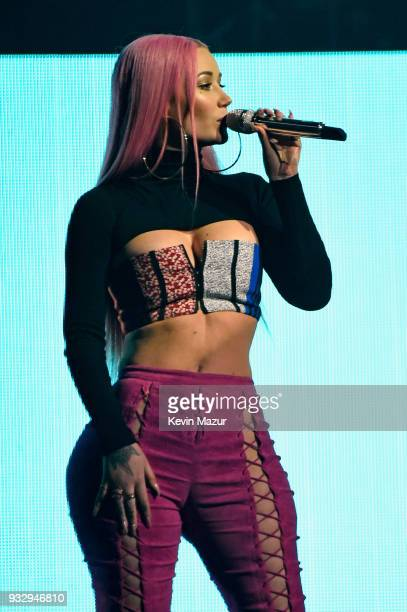 Iggy Azalea performs onstage during the Demi Lovato 'Tell Me You Love Me' World Tour at Barclays Center of Brooklyn on March 16 2018 in New York City