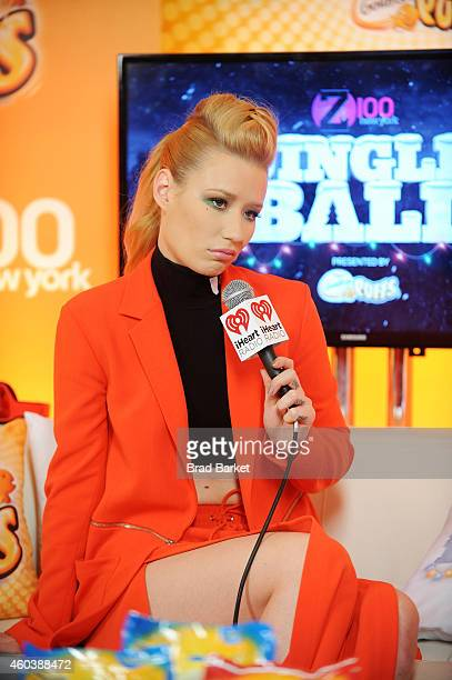 Iggy Azalea speaks backstage at iHeartRadio Jingle Ball 2014 hosted by Z100 New York and presented by Goldfish Puffs at Madison Square Garden on...