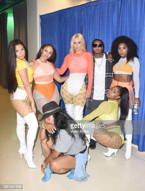 Iggy Azalea Tyga Oththan Burnside and dancers attend Monster Energy Outbreak Presents $50K Charity Challenge Celebrity Basketball Game at UCLA's...