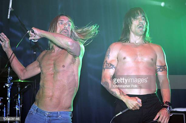 Iggy Pop and Anthony Kiedis during Playstation 2 Offers A Passage Into The Underworld Inside and Performance at Belasco Theater in Los Angeles...