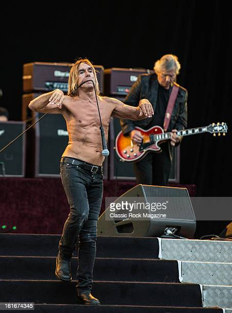 Iggy Pop and James Williamson of American rock band Iggy and The Stooges performing live onstage at Hard Rock Calling Festival July 13 2012