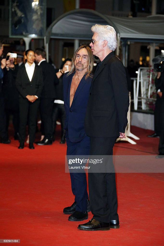 Iggy Pop and Jim Jarmusch attend the 'Gimme Danger' Premiere during the 69th annual Cannes Film Festival at the Palais des Festivals on May 19, 2016 in Cannes, .