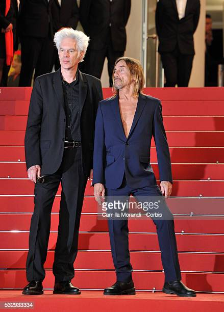 """Iggy Pop and Jim Jarmusch attend the """"Gimme Danger"""" red carpet at the annual 69th Cannes Film Festival at Palais des Festivals on May 19, 2016 in..."""