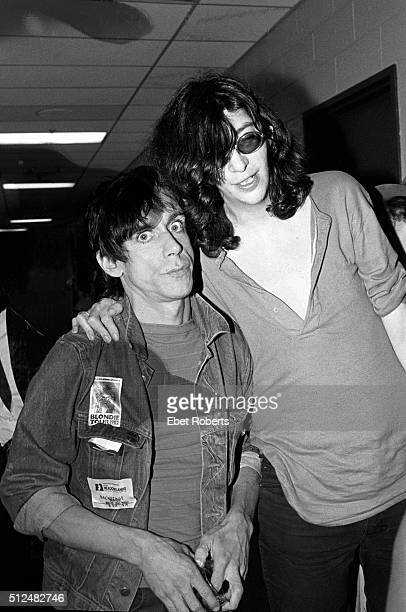 Iggy Pop and Joey Ramone backstage at a Blondie show at the Meadowlands in East Rutherford New Jersey on August 14 1982