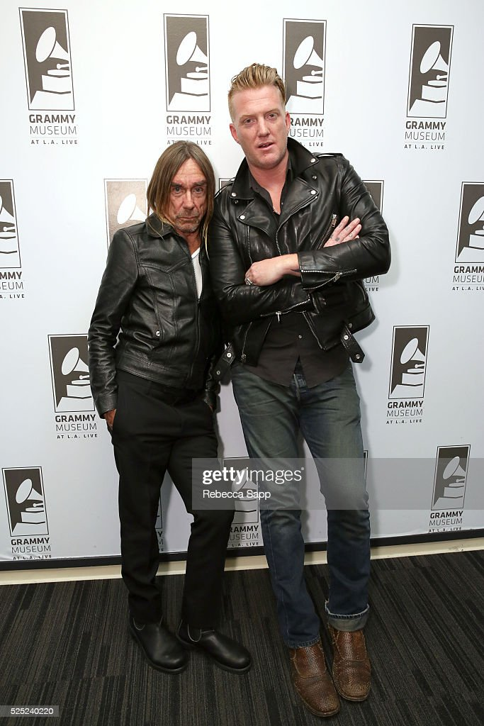 Iggy Pop and Josh Homme attend A Conversation With Iggy Pop And Josh Homme at The GRAMMY Museum on April 27, 2016 in Los Angeles, California.