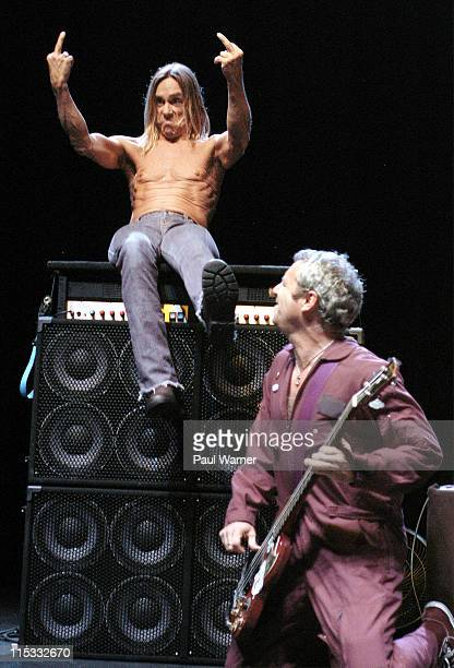 Iggy Pop and Mike Watt of The Stooges during Iggy and The Stooges in Concert April 13 2007 at The Fox Theater in Detroit Michigan United States