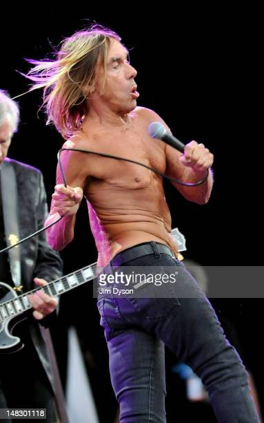 Iggy Pop and The Stooges perform live on stage during the first day of Hard Rock Calling at Hyde Park on July 13 2012 in London England