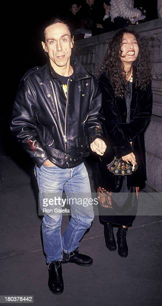 Iggy Pop and wife Suchi Asano attend Anna Sui Fashion Show on March 31 1993 at the New York Public Library in New York City