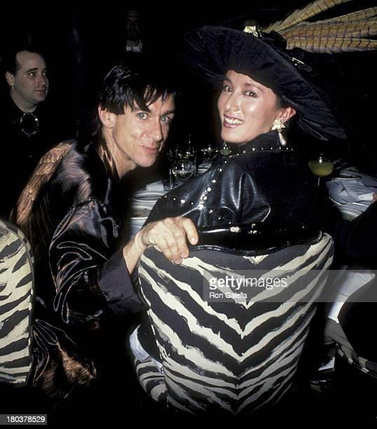 Iggy Pop and wife Suchi Asano attend the birthday party for Diane Brill on April 18 1986 at Cafe Seiyoken in New York City