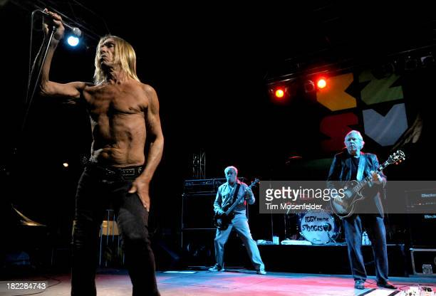 Iggy Pop Mike Watt Scott Asheton and James Williamsonof Iggy and the Stooges perform as part of C2SV Music Festival Day Three at St James Park on on...