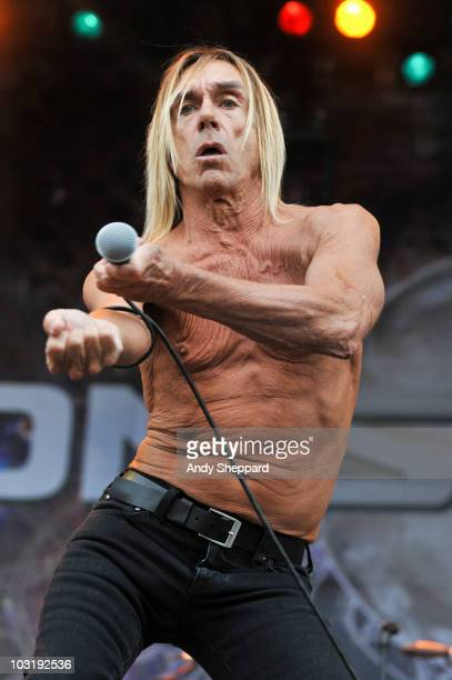 Iggy Pop of Iggy The Stooges performs on stage during the final day of Sonisphere Festival 2010 at Knebworth House on August 1 2010 in Stevenage...