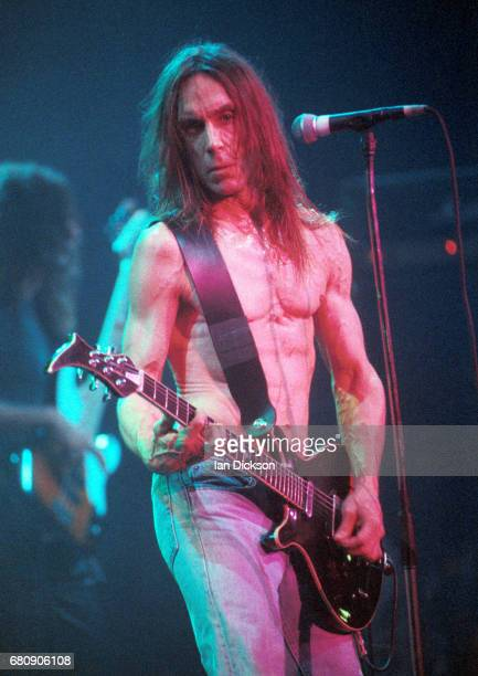 Iggy Pop performing on stage at Rainbow Theatre, London, 07 March 1977.