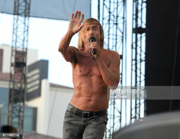 Iggy Pop performs at the Lawn Stage on day 3 of FYF Fest 2017 at Exposition Park on July 23, 2017 in Los Angeles, California.