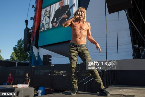Iggy Pop performs at the Queens of the Stone Age and Friends show at Finsbury Park on June 30, 2018 in London, England.