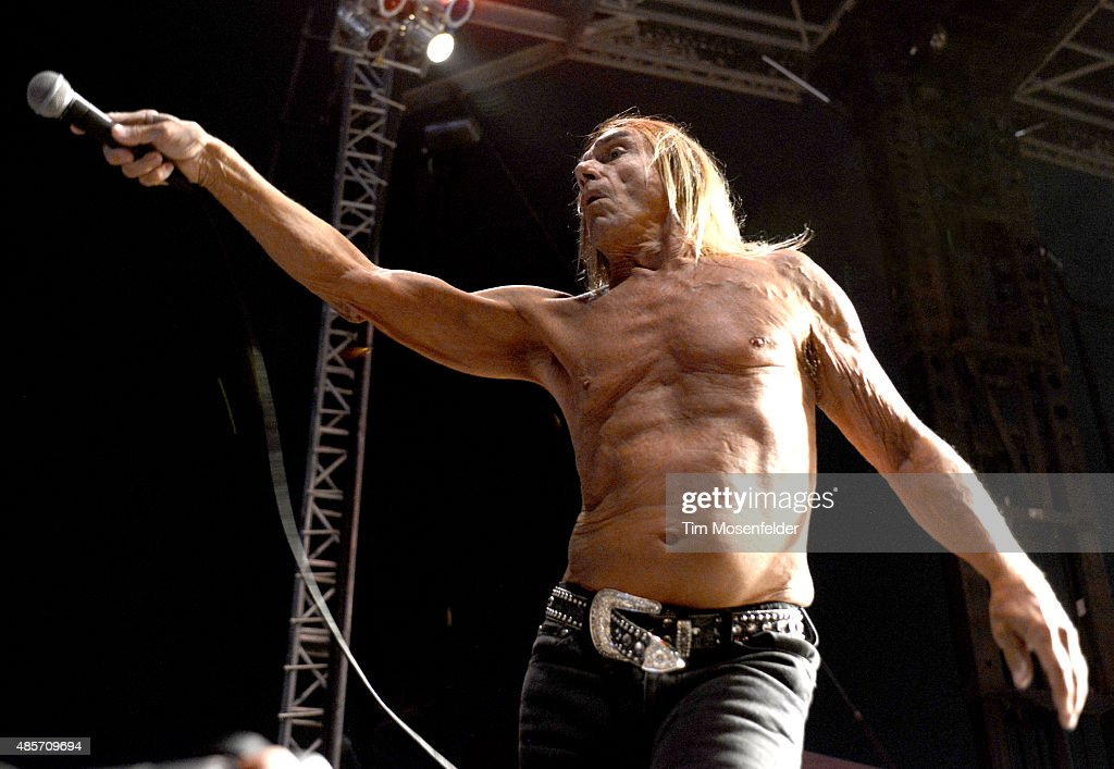 Iggy Pop performs during Riot Fest at the National Western Complex on August 28, 2015 in Denver, Colorado.