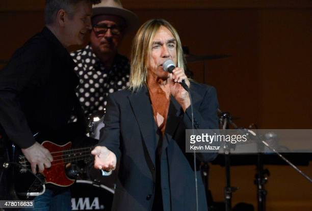 Iggy Pop performs during the 2014 Tibet House Benefit concert at Carnegie Hall on March 11 2014 in New York City